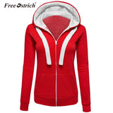 Free Ostrich Hoodies Warm Winter Sweatshirt Women Pocket Zipper Long Sleeve Slim Plus Size harajuku sudadera mujer S40 - thefashionique