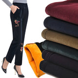 Free Shipping 2018 Women's Plus Size Winter Warm Velvet Corduroy Straight Pants Fleece Mother High Waist Embroidery Trousers - thefashionique