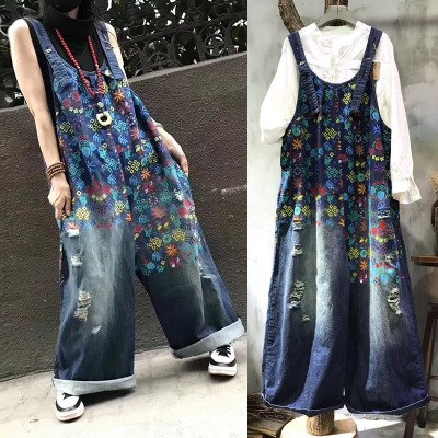 Free Shipping 2019 New Fashion Ladies Overalls Wide Leg Denim Jeans Loose Jumpsuits And Rompers With Holes Plus Size Jumpsuits - thefashionique
