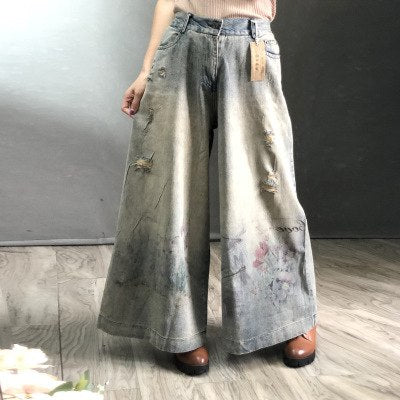 Free Shipping 2019 New Fashion Wide Leg Long Pants For Women Trousers Denim Jeans With Holes Elastic Waist Casual Pants Print - thefashionique