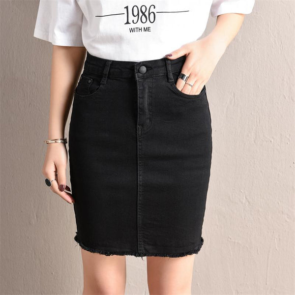 Free Shipping 2019 New Spring Summer denim jeans Skirt Women's A-line Knee-Length Girls office lady black skirt Plus Size 26-40 - thefashionique