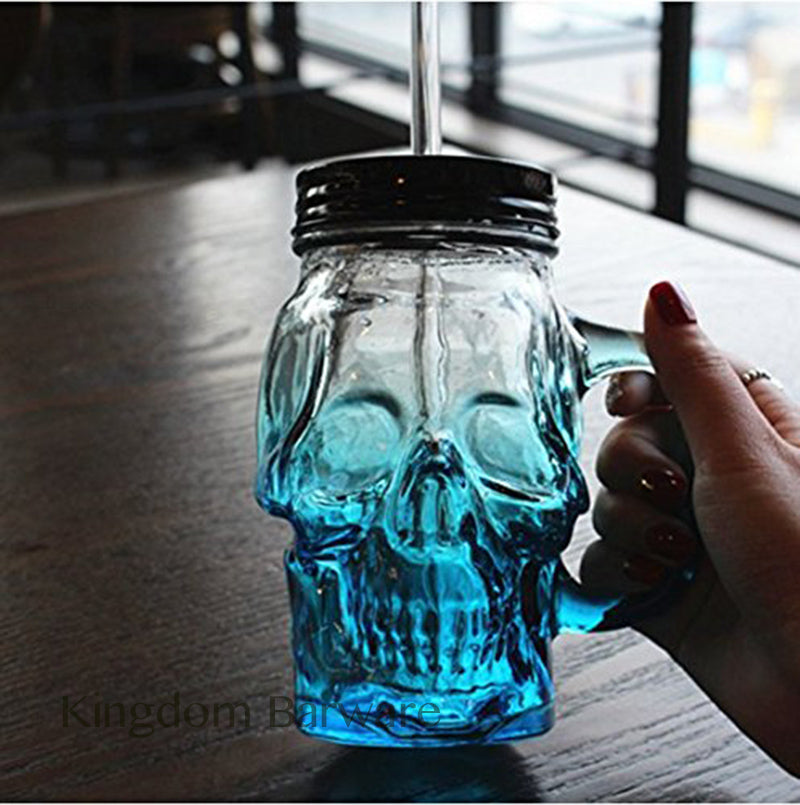 Free Shipping 500ml Colored Skulls with the Glass Beer Mug Large Beer on Draft a Mason Jar Novelty Heavy Base Glass Skull Face - thefashionique