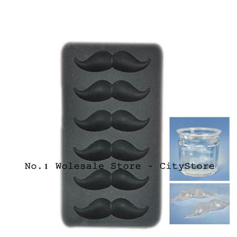 Free shipping 240pcs/lot Mustache Shape Ice Tray Beard Popsicle Molds Ice Cube Silicone Ice Cream Tools, PVC box package