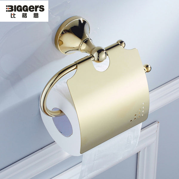 Free shipping Biggers bathroom sanitary gold plated finish bathroom accessories copper toilet paper holder with cover 7905g - thefashionique