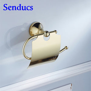 Free shipping Hotel bathroom toilet paper holder of gold bronze bath paper holder with solid brass sanitary paper holder - thefashionique