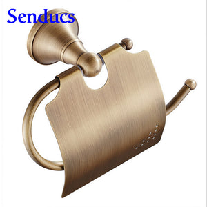 Free shipping Senducs antique bronze toilet paper holder for hot sale solid brass bathroom sanitary paper holder - thefashionique