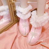 French girl velvet powder butterfly with women's shoes pointed high shoes winter lace Bowknot Princess Kawaii Girl Women Shoes