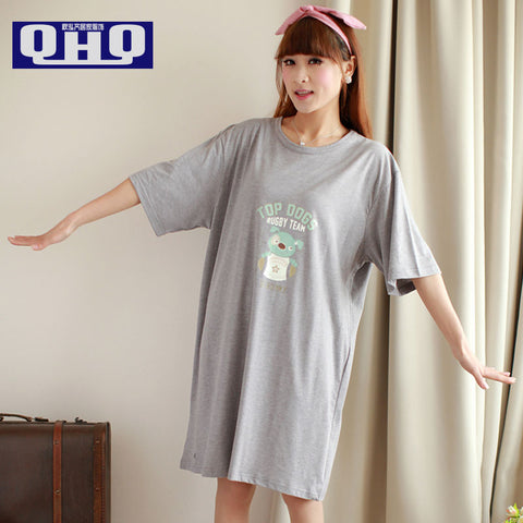 9351e0d547 Fresh nightgown female summer sleepwear at home 100% cotton short-sleeve  summer plus size