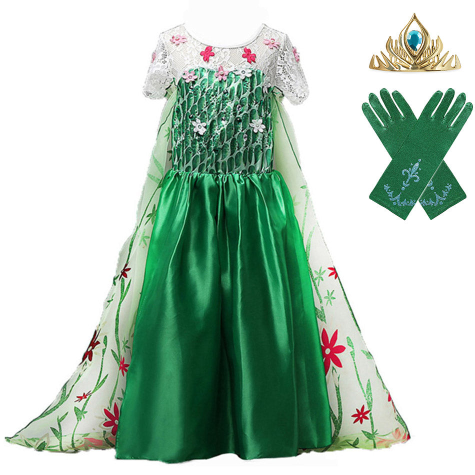 Frozem Fever Elsa Birthday Party Dress Cosplay Costume for Girls Green Floral Frocks Ankle Length Child Princess Elsa Long Gown - thefashionique