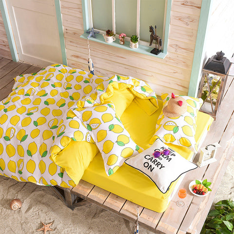 Fruit Watermelon Pear Banana Bedding Sets Duvet Cover Set Bed Sheet Pillowcase Plaids Twin Full Queen King Size Home Textiles