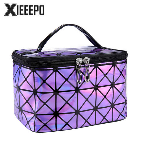 Functional Cosmetic Bag Women Fashion PU Leather Travel Make Up Necessaries Organizer Zipper Makeup Case Pouch Toiletry Kit Bag