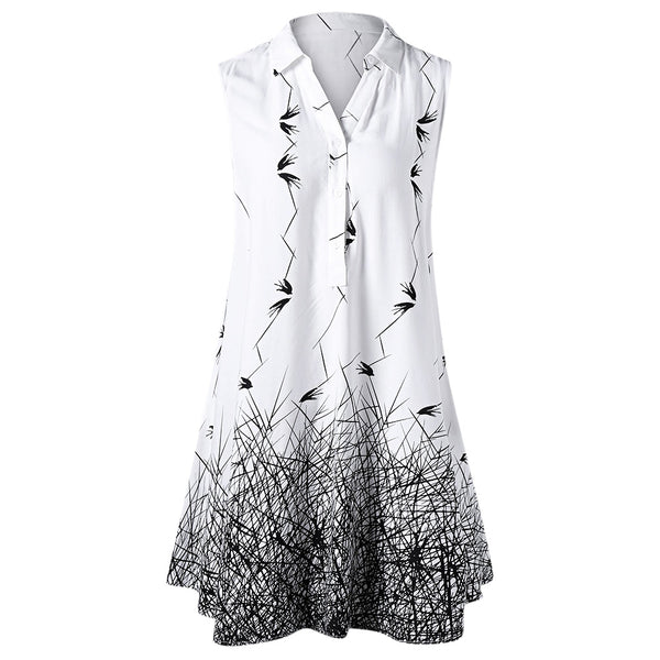 GAMISS Women Summer 2018 Plus Size 5XL Sleeveless Graphic Longline Blouse Button Monochrome Ladies Long Tops Women Clothing - thefashionique