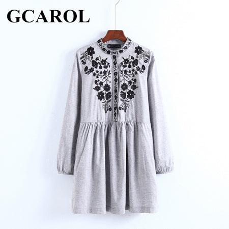 GCAROL 2018 Early Spring New Black Floral Embroidered Women Dress Stand Collar Vintage Dress Mid Waist Pleated Dress - thefashionique