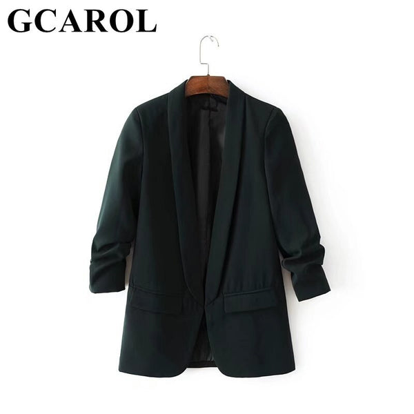 GCAROL Notched Collar Women Candy Blazer 3/4 Ruched Sleeve Open Stitch OL Office Suit Jacket High Quality Outwear In 5Color