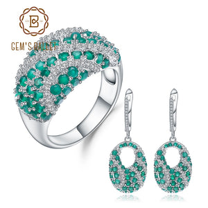 GEM'S BALLE 925 Sterling Silver Gemstone Vintage Jewelry Set Natural Green Agate Ring Earrings Set For Women Wedding Jewelry