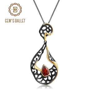 GEM'S BALLET 1.05Ct Natural Garnet Wedding Jewelry Solid 925 Sterling Silver Handmade Hollow Element Pendant Necklace for Women - thefashionique
