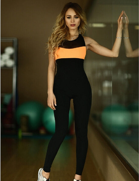 GERTU New Elasticity Fitness V Neck backless Jumpsuit Fitness Skinny Bodysuit Fashion Cross Bandage Slim Playsuit Women  Macacao - thefashionique