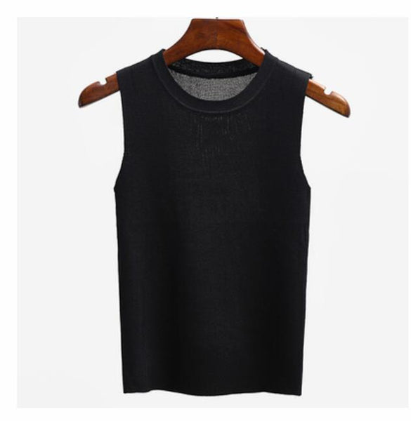 GIGOGOU T Shirt Women 2018 Summer Tank Tops Solid High Quality Knitted Elastic Base Sleeveless Vest Helter Tee Shirt Femme - thefashionique