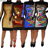 GL Autumn Women winter Bodycon Full Sleeve Mini dress Sequined Patchwork Fashion Sexy club night party bandage dresses CY8181 - thefashionique