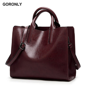 GORONLY Brand High Quality Leather Tote Bag Women Handbag Designer Shoulder Bags Fashion Ladies Crossbody Bag Large Bolsos Mujer - thefashionique