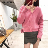 GRUIICEEN elegant knitted sweater autumn short pullover women tops slim jumper casual long sleeve v neck casual pull femm - thefashionique