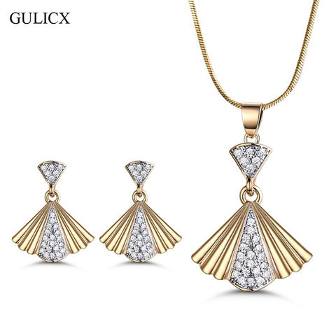 GULICX Unique Fan Shape Gold Color Bridal Jewelry Sets & More for Women Wedding with High Quality AAA Zircon - thefashionique