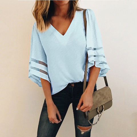 GUMPRUN 2018 Female Sexy V Neck Loose Chiffon Blouse Skirt Women Summer Long Sleeve Office Tulle Blosues Tops Polo Shirts Womens