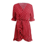 GUMPRUN Polka Dot Print Elagant Red Dress Women Sexy V Neck Ruffles Short Dresses Summer 2018 Casual Beach Dress vestidos female - thefashionique