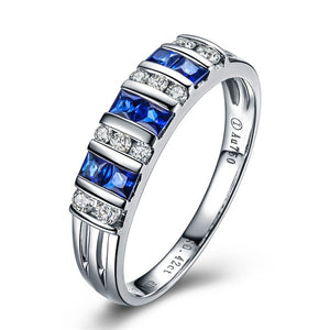 GVBORI Classic 18K White Gold 0.4CT Sapphire Diamond Wedding Ring For Women Gold Blue Gemstone Ring Fine Jewelry Engagement