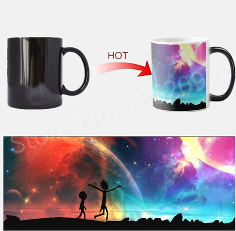 Galaxy Rick and Morty Magic Mug Heat Color Change Cup Ceramic Coffee Mugs Morphing Tea Cups Creative Xmas Birthday Gifts 11oz - thefashionique