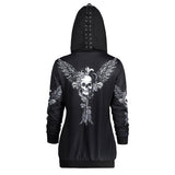 Gamiss Autumn Womens Skull Wings Print Halloween Zip Up Hoodie Long Sleeve Spring Sweatshirts Coat Cool Hoodies Sudaderas Mujer - thefashionique