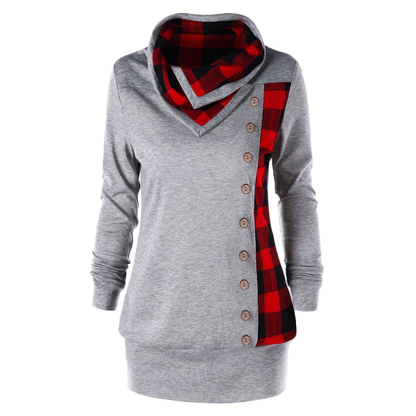 Gamiss Women Autumn Spring Sudaderas Plus Size 5XL Plaid Cowl Neck Sweatshirt Single Breasted Button Embellished Hoodies Outwear - thefashionique