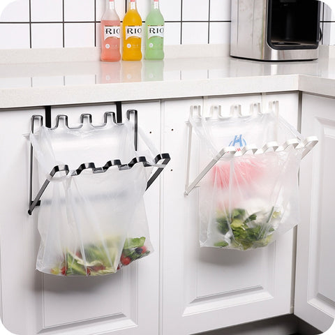 Garbage Bag Holder Plastic Bracket Stand Rack Kitchen Trash Can Storage Hanger Kitchen Trash Rack Kitchen Accessories - thefashionique