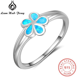Genuine 925 Sterling Silver Flower Rings for Women Created Blue Opal Engagement Ring S925 Silver Fine Jewelry (Lam Hub Fong) - thefashionique