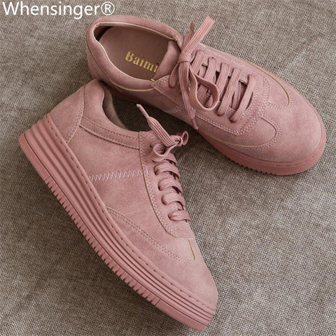 Genuine Leather Women Sneakers Fashion Pink Shoes for Women Lace up White Shoes Creepers Platform Women's Vulcanize Shoes