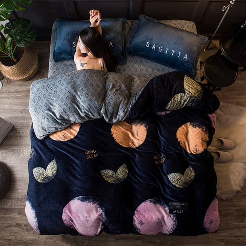 Geometric winter fleece bedding set leaf warm flannel duvet cover set 2018 fashion bed set European American bed linen sheet set