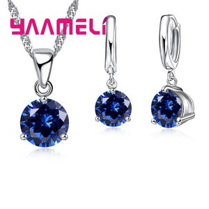 Giemi 8 Colors 925 Sterling Silver Wedding Elegant Jewelry Sets Crystal Pendant Collar Necklace Earrings Women Decoration Set - thefashionique