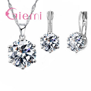 Giemi New Fashion Luxury CZ Jewelry Sets 925 Sterling Silver Earring+Pendant Necklace Set Women Anniversary  Engagement Gift Set - thefashionique