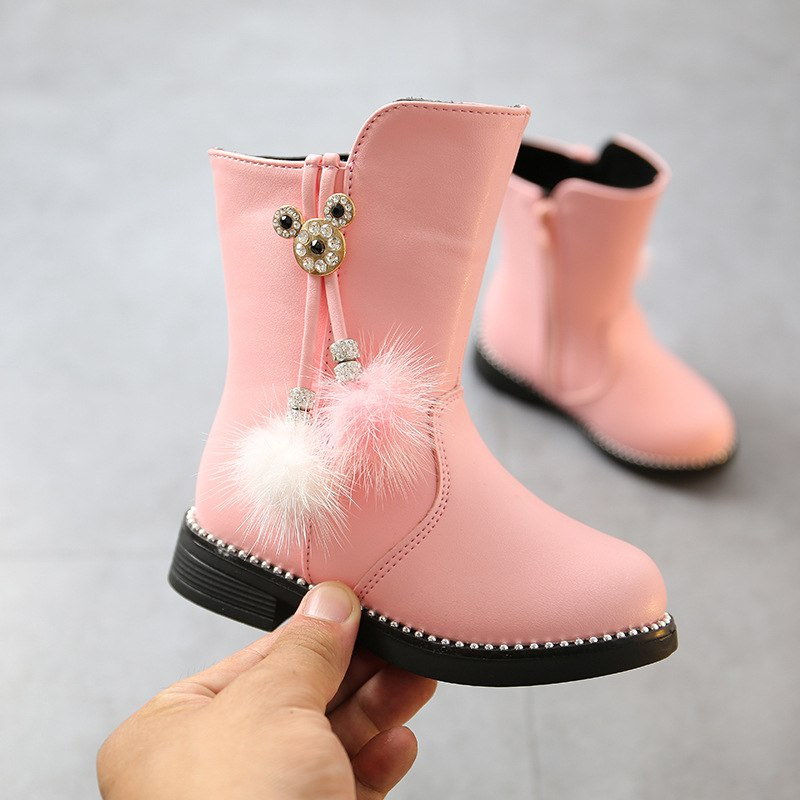 Girl Boots 2018 Winter Boots Kids For Girls Snow Boots For Kids Girls Black Boots Fashion Flower Children'S Shoes Red Black Pink - thefashionique