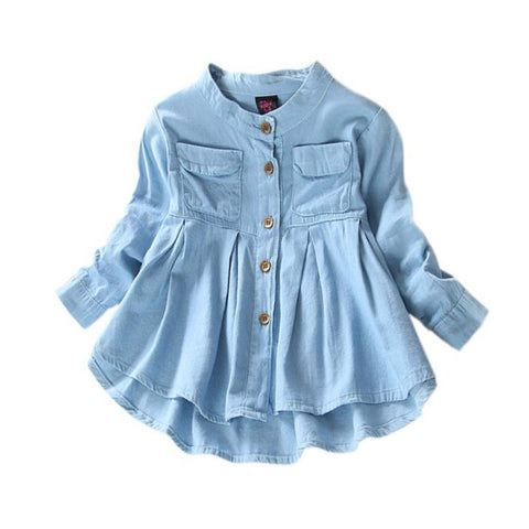 Girls Blouse Childrens Denim 2018 Girl Jean Blouses and Shirts Clothing Autumn Fashion Baby Girls Girls Demin Shirts