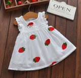 Girls Cartoon Strawberry Dress Baby Summer Sleeveless Lace Dress Kids Cute White Color Cotton Dresses - thefashionique