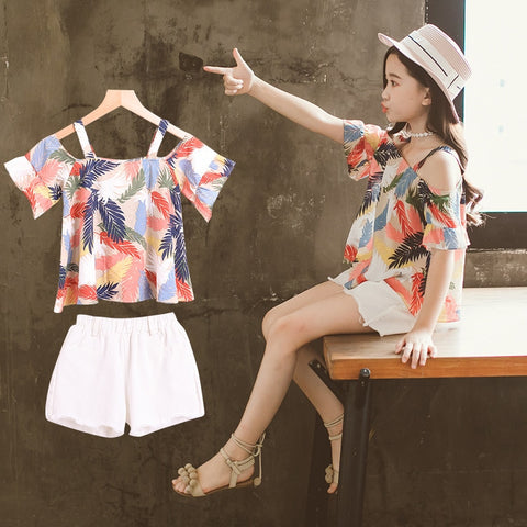 1d5a15665a1b Girls Clothing Sets Teenage Kids Clothes Suit Feather Print Tops + Denim  Shorts 3-14