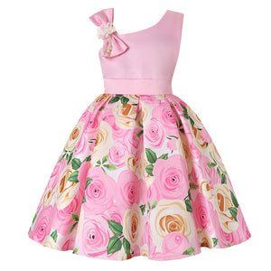 Girls Dress One-shoulder Flower Dress For Girls Birthday Gift Costume Princess Dress Toddler Girl Dresses Children Clothing