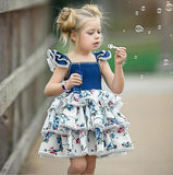 Girls Printed Dress Baby Vest Dress Small Flying Sleeve Lace Cake Dress - thefashionique