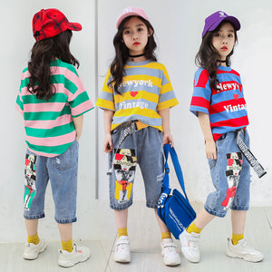 Girls Summer Clothes 2019 Summer Boutique Outfits Kids Clothing Set Toddler Children Striped T-shirt + Denim Capri pants