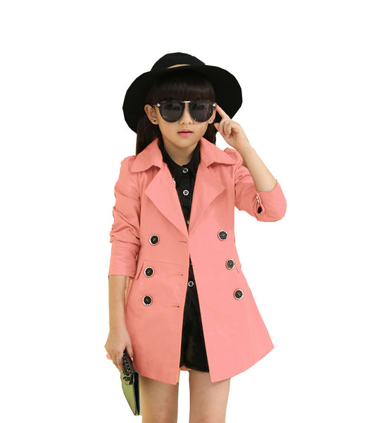 Girls Trench Coat Spring 2018 Children Long Coat Kids Blazer Cotton Outerwear Jackets Teenage Girls Clothing Fashion Outwear - thefashionique