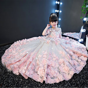 Girls Wedding Dress Kids Princess Dress Flower Fairy Piano Performance Baby Evening Dresses Age 1 2 5 8 9 12 13 14 Years Old - thefashionique