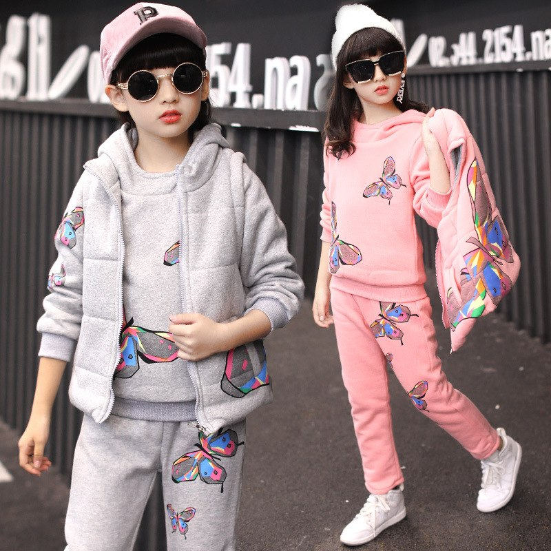 Girls Winter Clothes Children Clothing Sets Kids Sport Suit Butterfly Print Cotton Clothes Girls Clothing set Kids Tracksuit 3pc - thefashionique