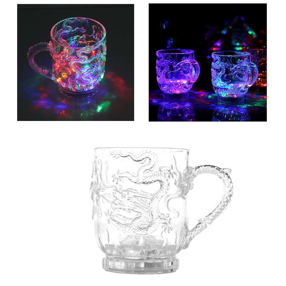 Glasses Beer Cup Dragon LED Inductive Rainbow Color Flashing Light Glow Mugs Glass Cup Good Quality - thefashionique