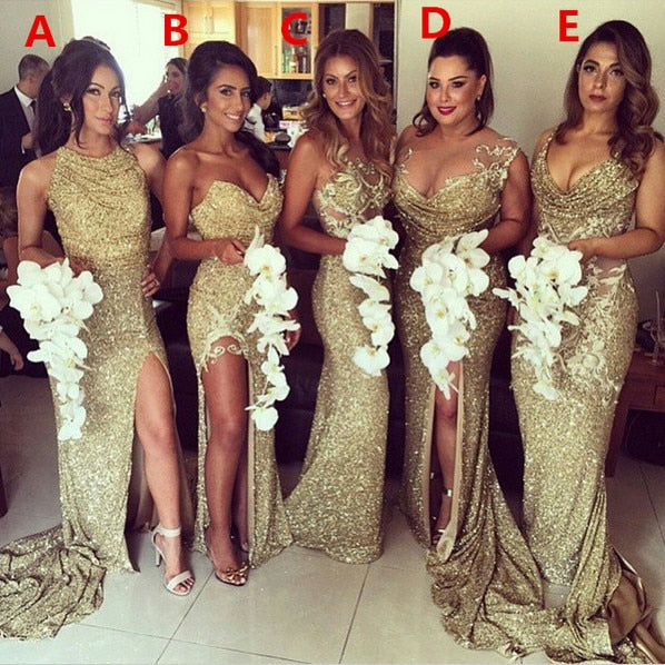 Gold 2019 Cheap Bridesmaid Dresses Under 50 Mermaid Halter Sequins Sparkle Slit Sexy Long Wedding Party Dresses - thefashionique